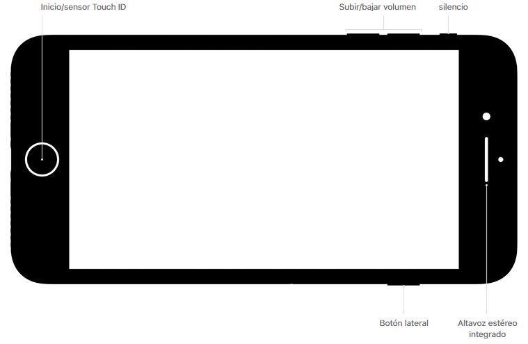 Estructura de botones del iPhone 8