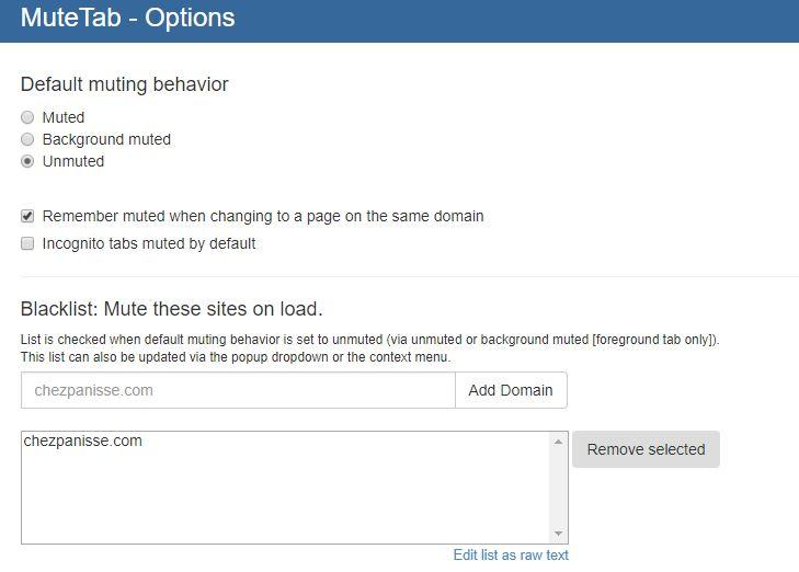 Opciones de la extensión MuteTab para Chrome