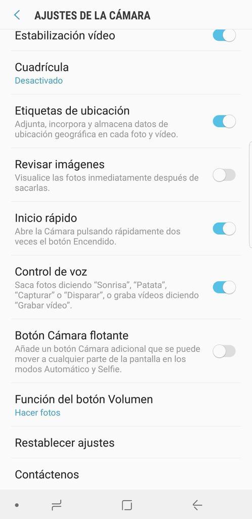 Uso de voz con la cámara del Samsung Galaxy Note 8