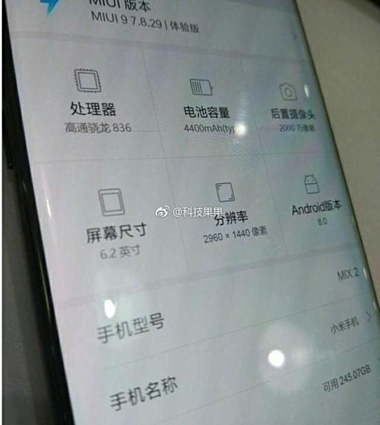 Datos del Xiaomi Mi Mix 2