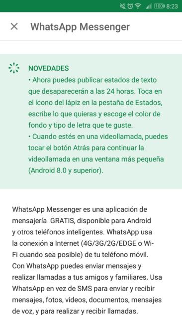 Actualización estados de WhatsApp