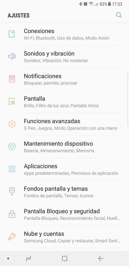 Ajustes en el Samsung Galaxy Note 8