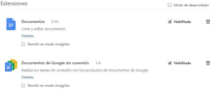 Extensiones instaladas en Chrome