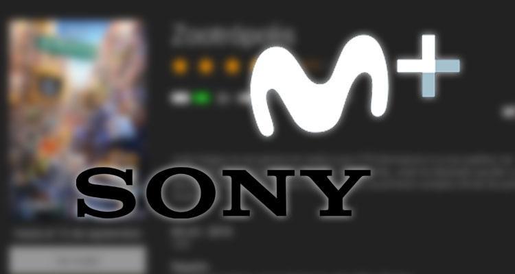 Logos Movistar+ y Sony con fondo aplicaicón