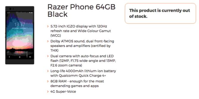 Características Razer Phone