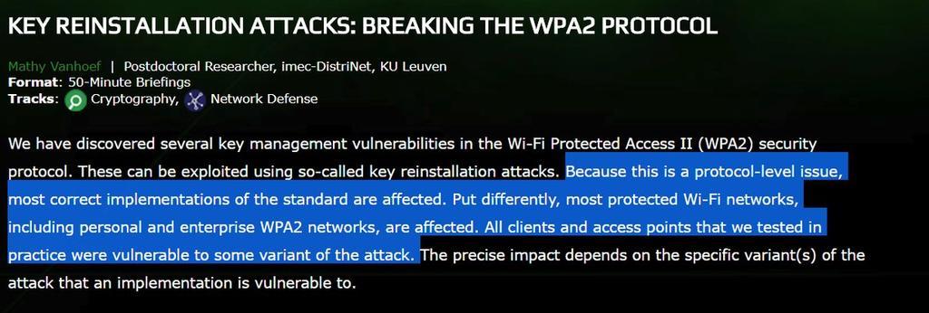 Aviso brecha seguridad redes WiFi con WPA2