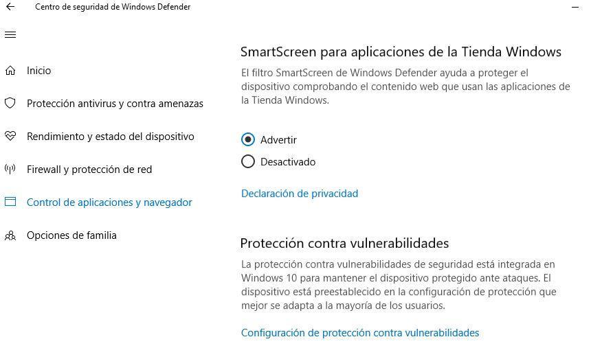 Control de vulnerabilidades en Windows Defender