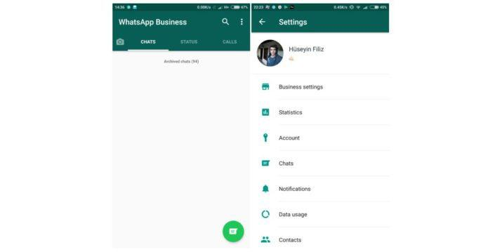 Posible interfaz de WhatsApp Business