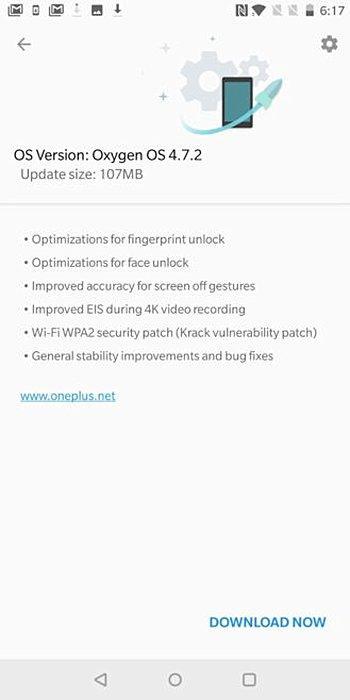 Aviso de actualización del OnePlus 5T