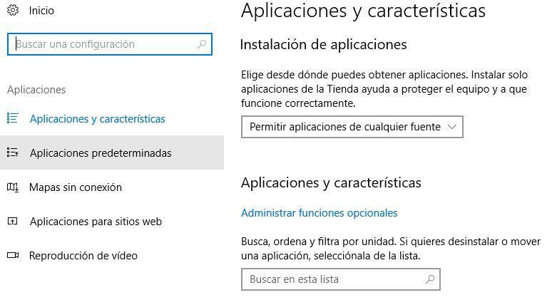 Aplicaicones en la configuración de Windows 10
