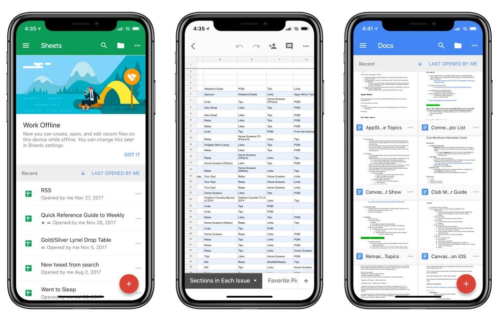 Documentos de Google en el iPhone X