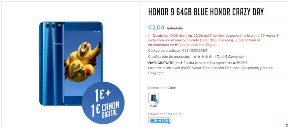 Promoción Honor 9 por un euro