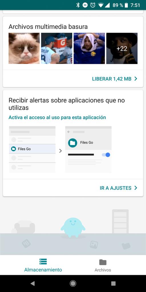 Interfaz de la aplicación Files Go