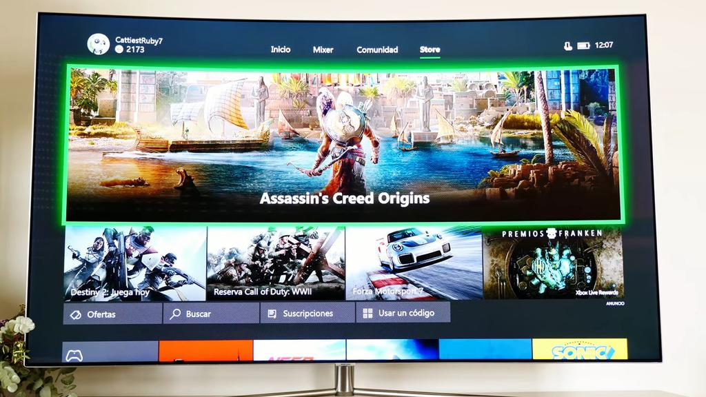 Interfaz de usuario de la Xbox One X