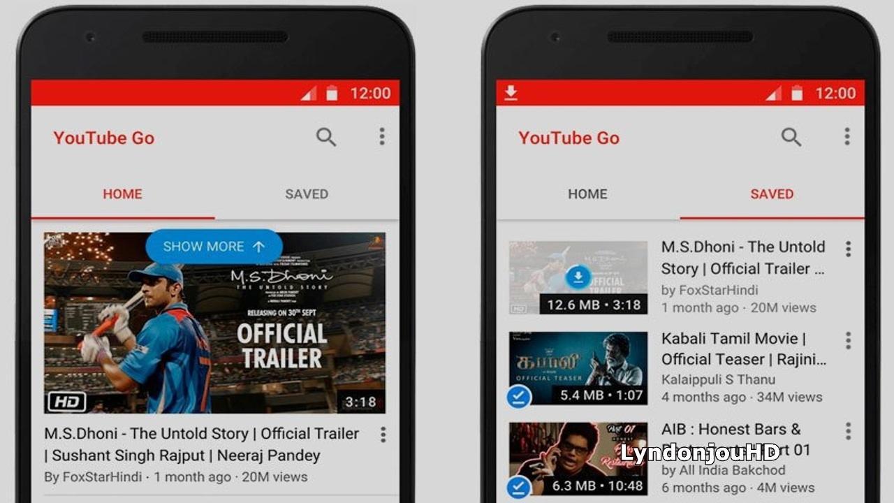 Interfaz de YouTube Go