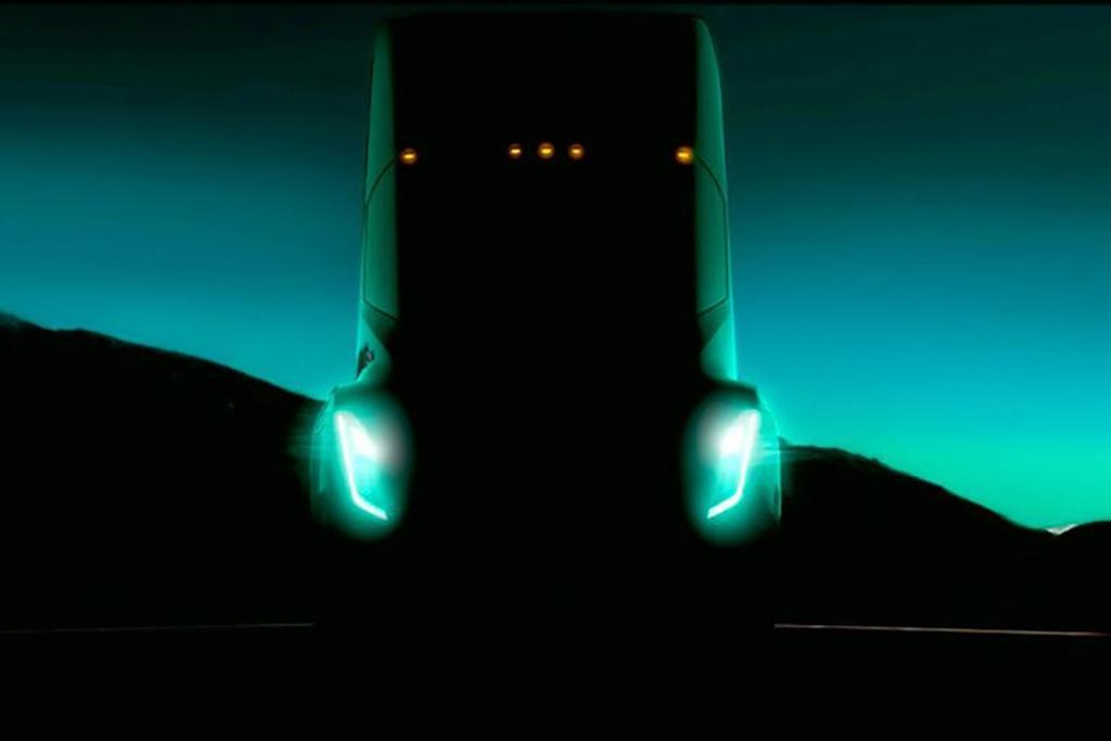 frontal del camión tesla