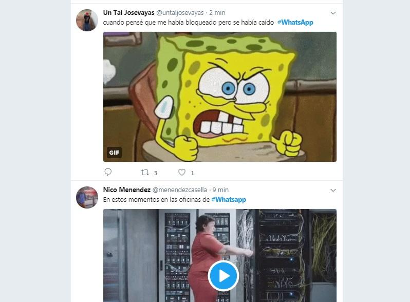 Captura de twitter con Whatsapp caído