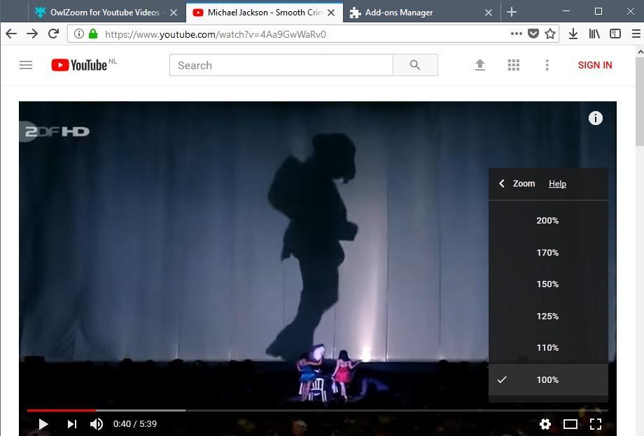 Interfaz de OwlZoom