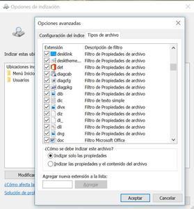 indización para buscar archivos en Windows 10