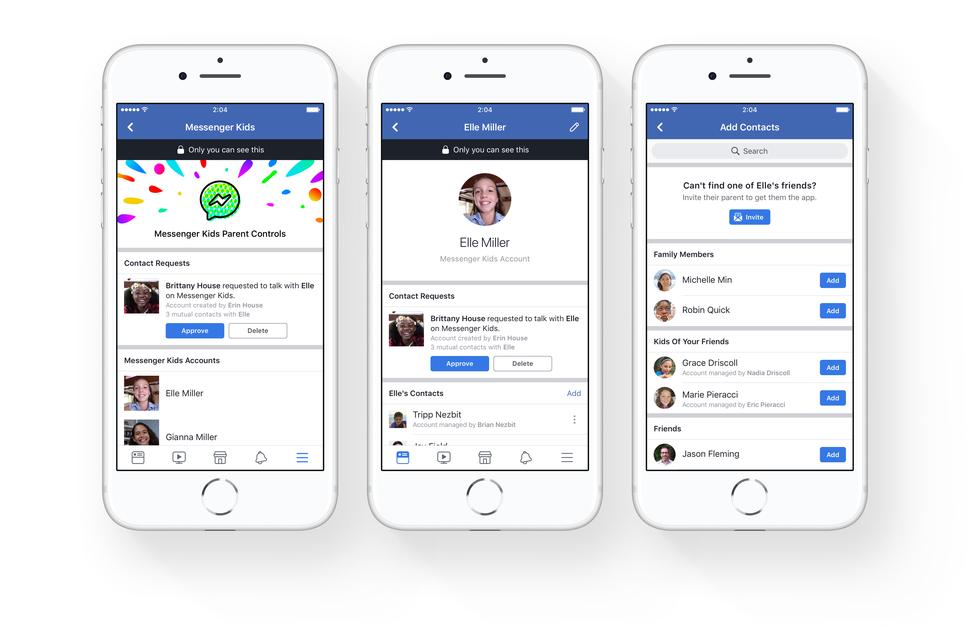 Interfaz del nuevo facebook para niños