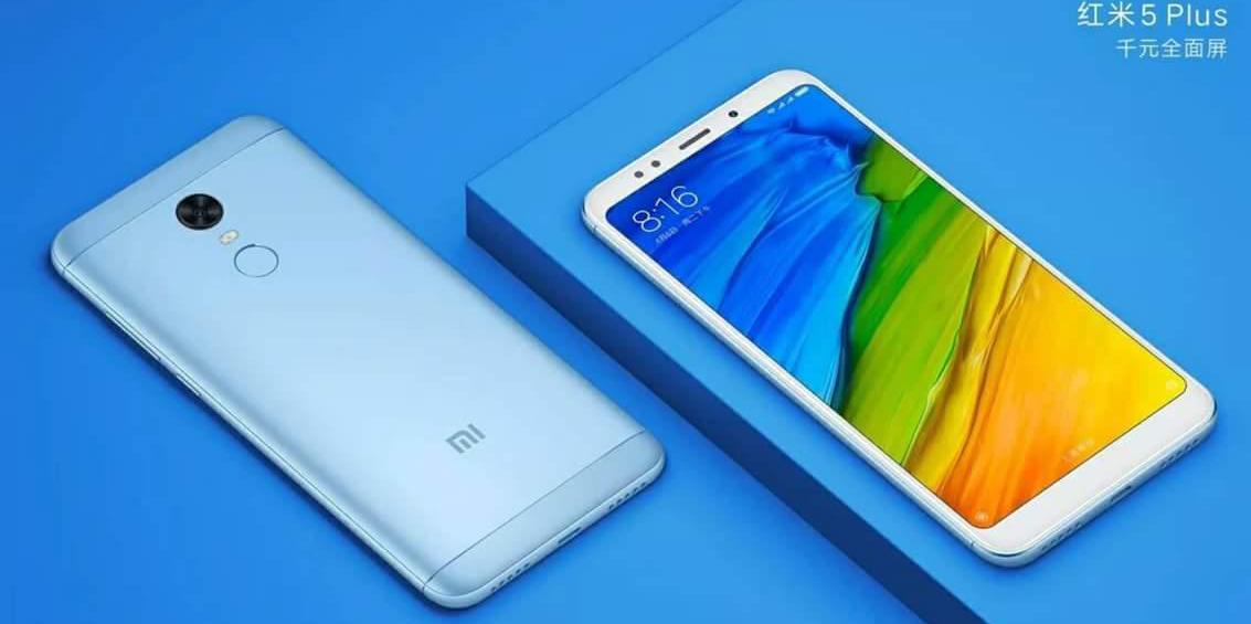 Imagen del Redmi 5 Plus con fondo azul