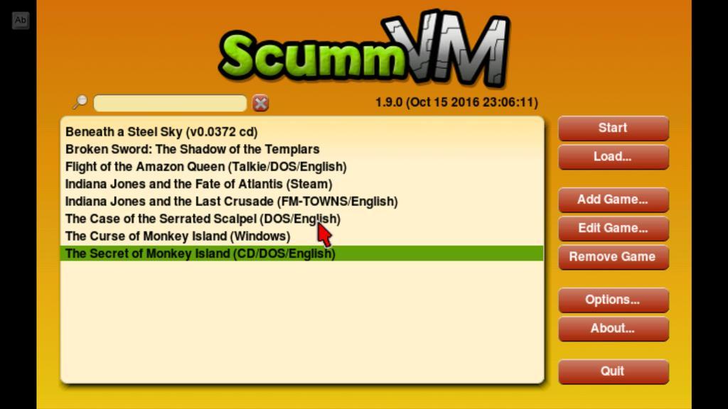 interfaz de ScummVM