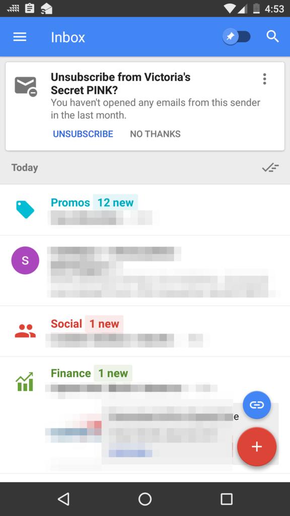 Darse de baja a lista d correo en Inbox