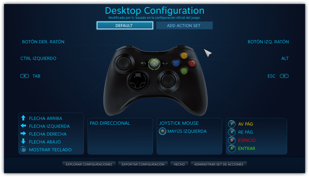 Interfaz mando Xbox One en Windows 10