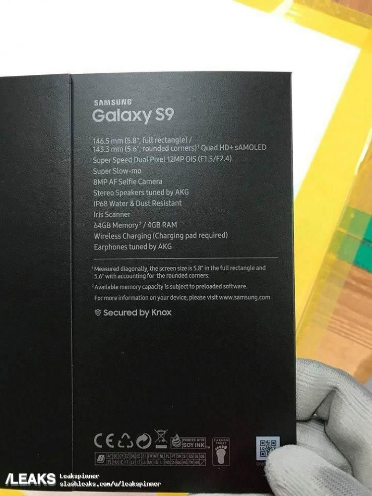 Características en la caja del Samsung Galaxy S9