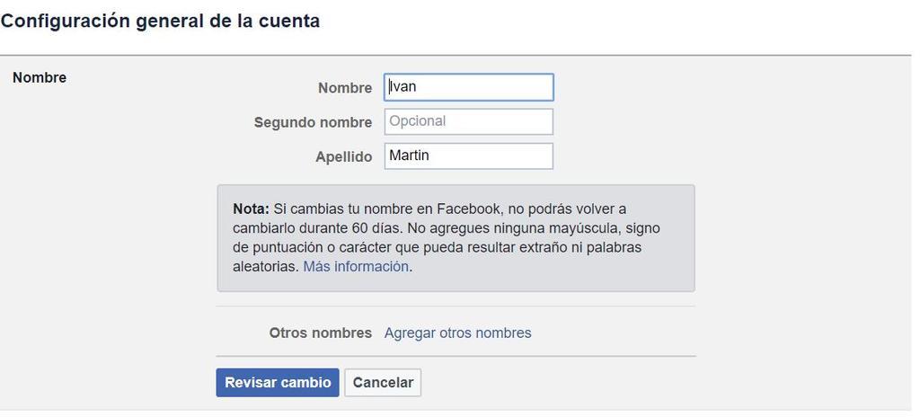 Pasos para cambiar en Facebook tu nombre