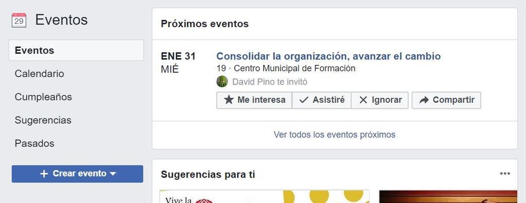 Inicio para crear en Facebook eventos