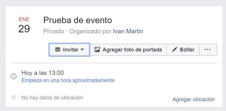 Finalizado al crear en Facebook eventos