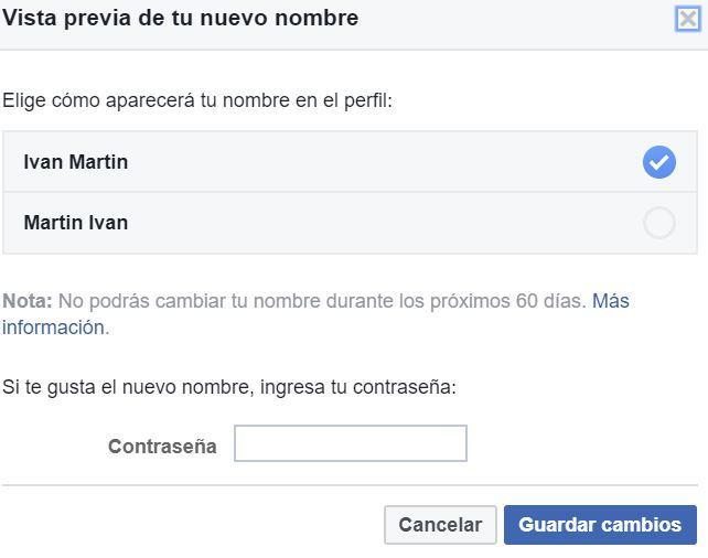 Revisar el proceso para cambiar en Facebook tu nombre