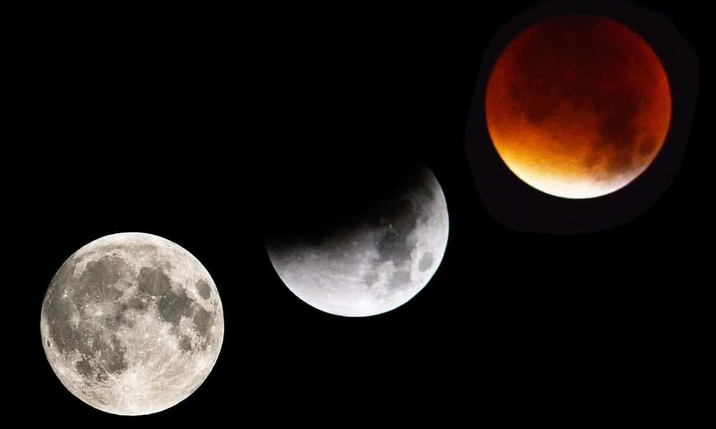 Superluna, luna azul y luna roja