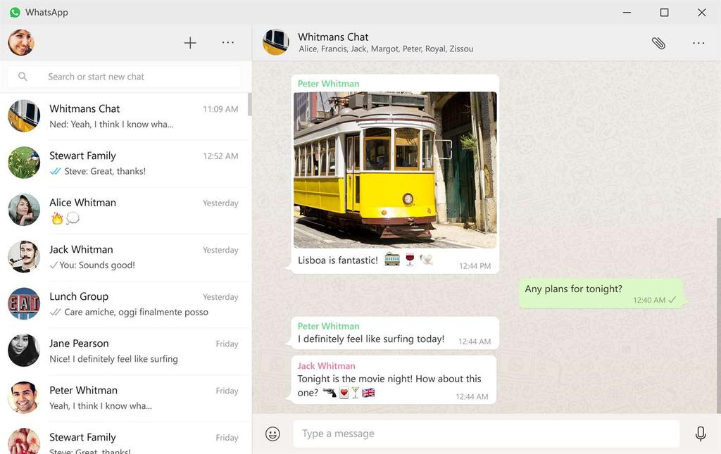 Interfaz de WhatsApp para Windows 10