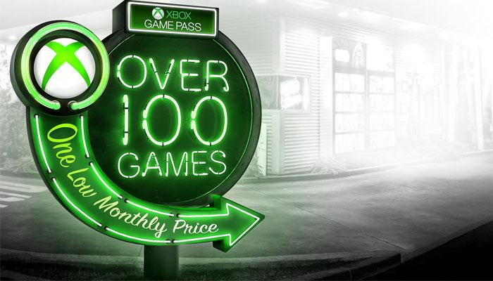 Plataforma Xbox Game Pass con fondo gris