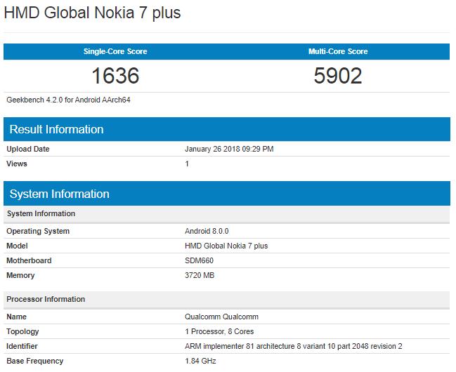Nokia 7 Plus en la prueba Geekbench