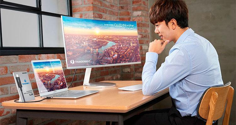 Image result for Monitor Samsung curvo con tecnología QLED
