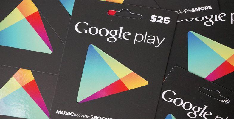 tarjetas de la tienda Play Store