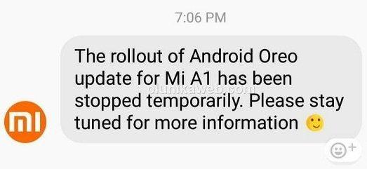 Actualización Android Oreo Xiaomi Mi A1 detenida