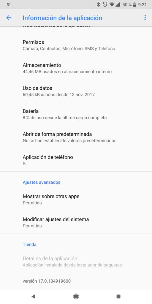 Aplicación teléfono de Google en su versión 17