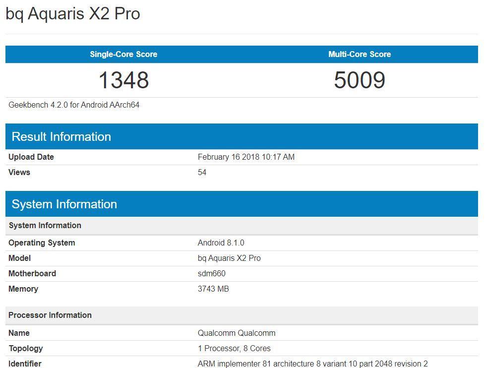 Posibles resultados de BQ Aquaris X2 Pro en Geekbench