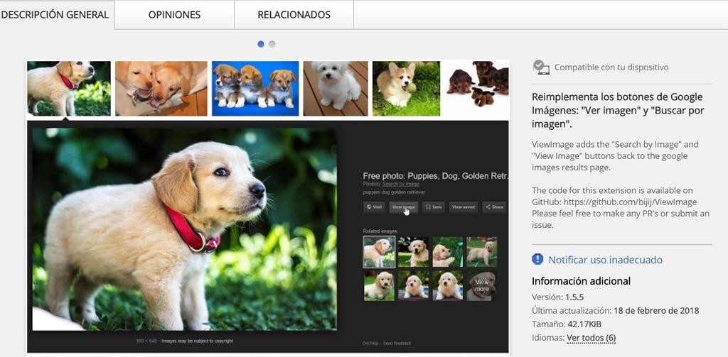 Extensión para recuperar el botón Ver imagen en Chrome