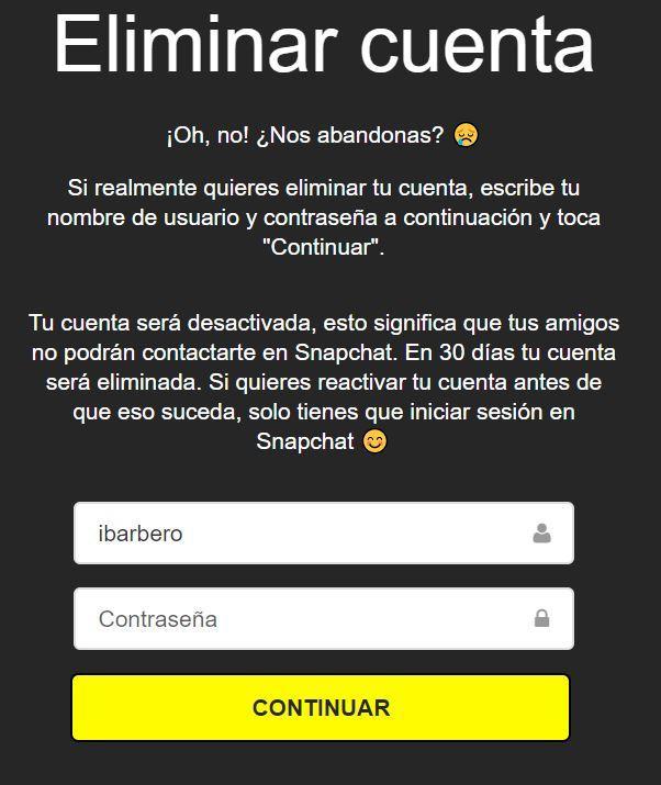 Proceso de eliminación de una cuenta de Snapchat