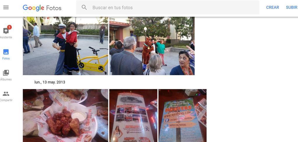 Interfaz de Google Fotos en el ordenador