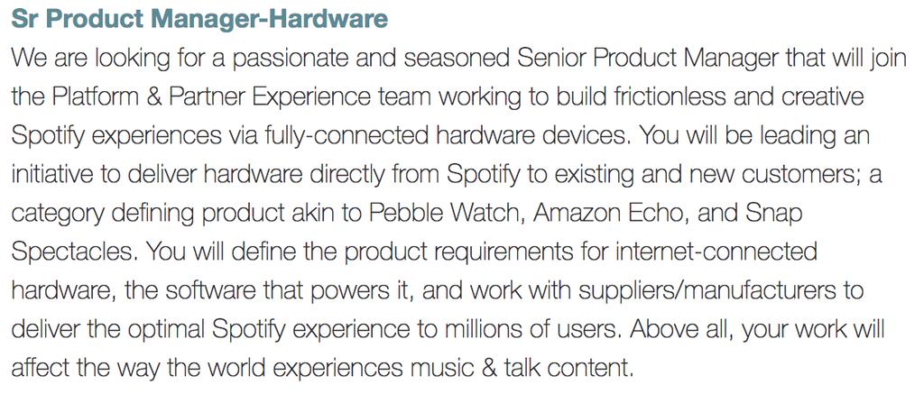 Oferta de trabajo de Spotify para Hardware