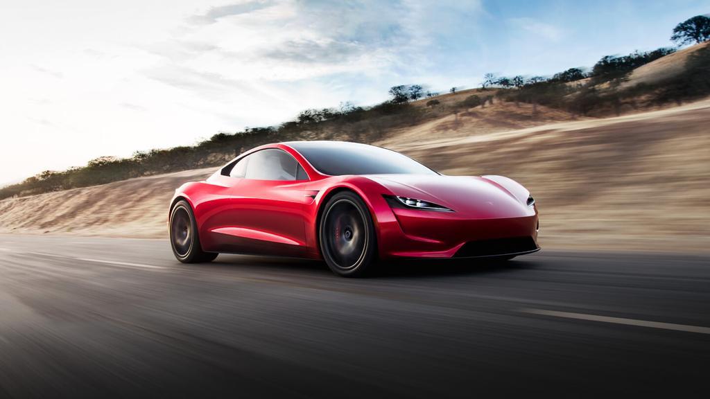 Tesla Roadster de perfil