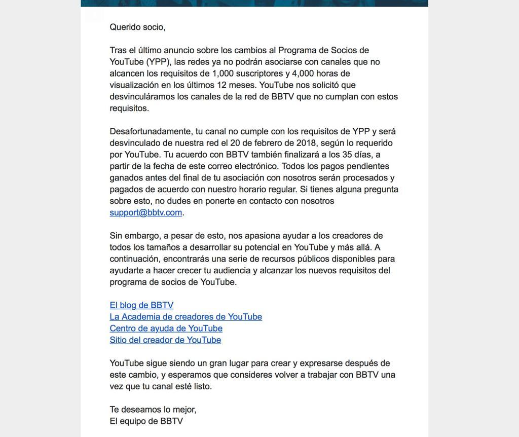 Carta de YouTube tras caerse