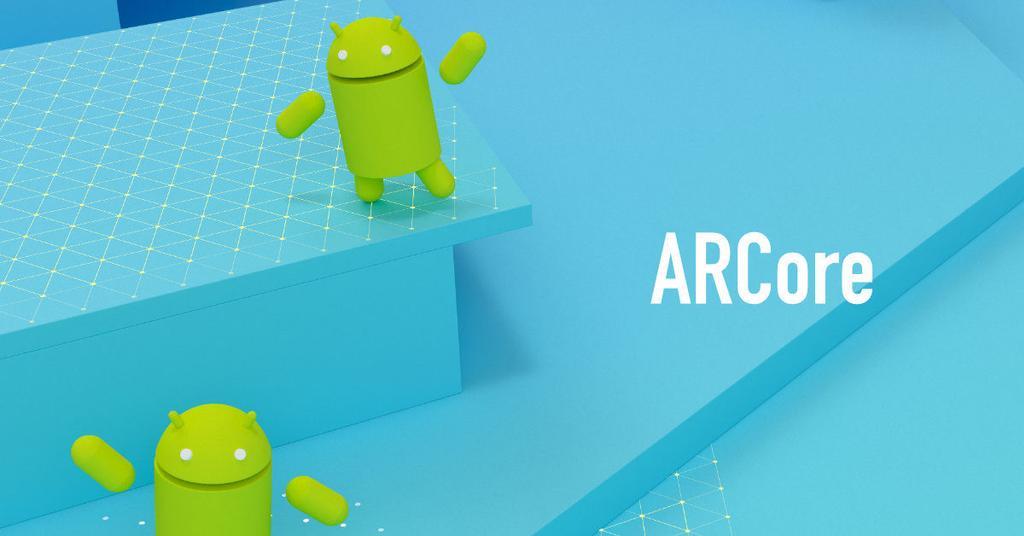 ARCorede Google on fondo azul y Android