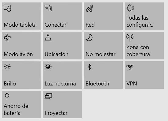 Acciones rápidas de Windows 10